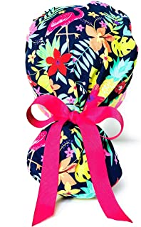 Summer Tropical Flamingo Ponytail Scrub Cap for Women with Pink Ribbon