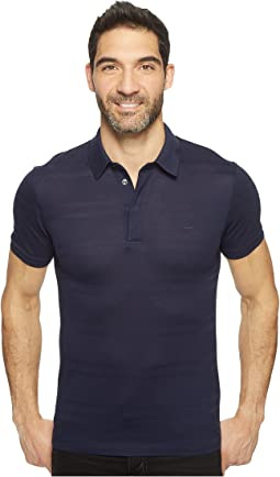 Casual Elegance Short Sleeve Pique Jersey Subtle Stripe Slim