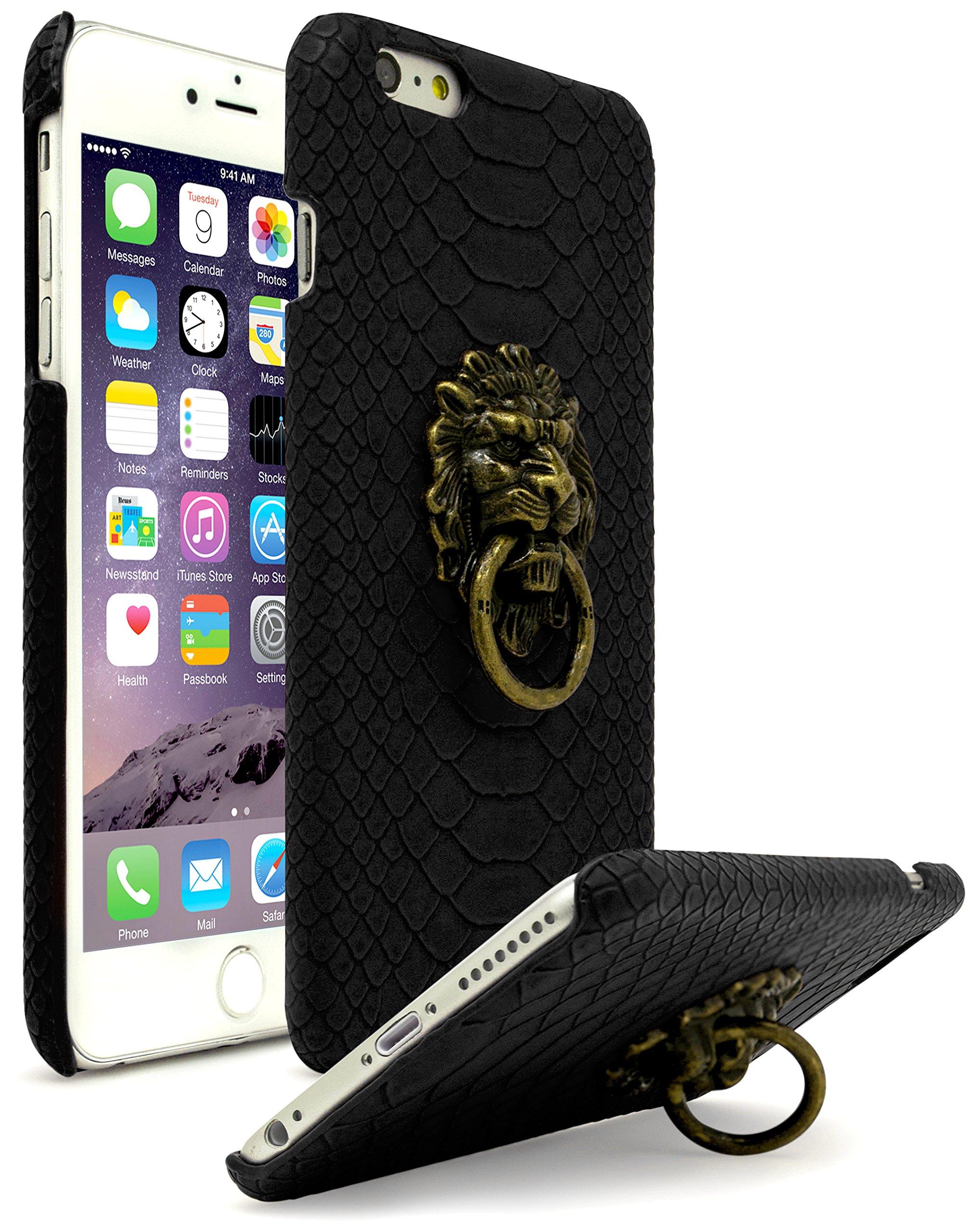 designer iphone 7 plus cases amazon combastex iphone 6 plus case, ultra slim fit protective vintage rock lion head door knocker