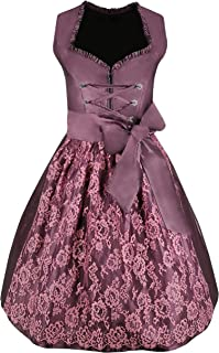 Exclusive Dirndl 2 pcs. Lisa Traditional Dress in Violet and lace Dirndl Apron for Oktoberfest Carnival