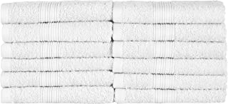 NatureMark 12 Guest Towels, 100Percent Cotton, White, Pack of 12-30 x 50 cm