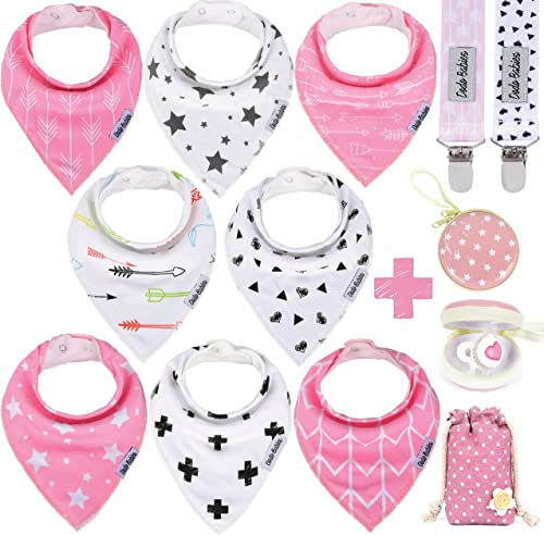 Dodo Babies Baby Bandana Drool Bib Set - 8pc Infant Bibs with 2 Pacifier Clips, Binky Case, Gift-Ready Bag - Soft Abs...