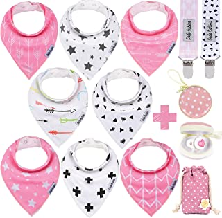 Dodo Babies Baby Bandana Drool Bib Set - 8pc Infant Bibs with 2 Pacifier Clips, Binky Case, Gift-Ready Bag - Soft Absorben...