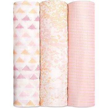 aden + anais Silky Soft Metallic Swaddle Blanket   100% Bamboo Viscose Muslin Blankets for Girls & Boys   Baby Receiving Swaddles   Ideal Newborn & Infant Swaddling Set   3 Pack, Primrose Birch