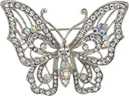 Open Work Pave Butterfly Brooch
