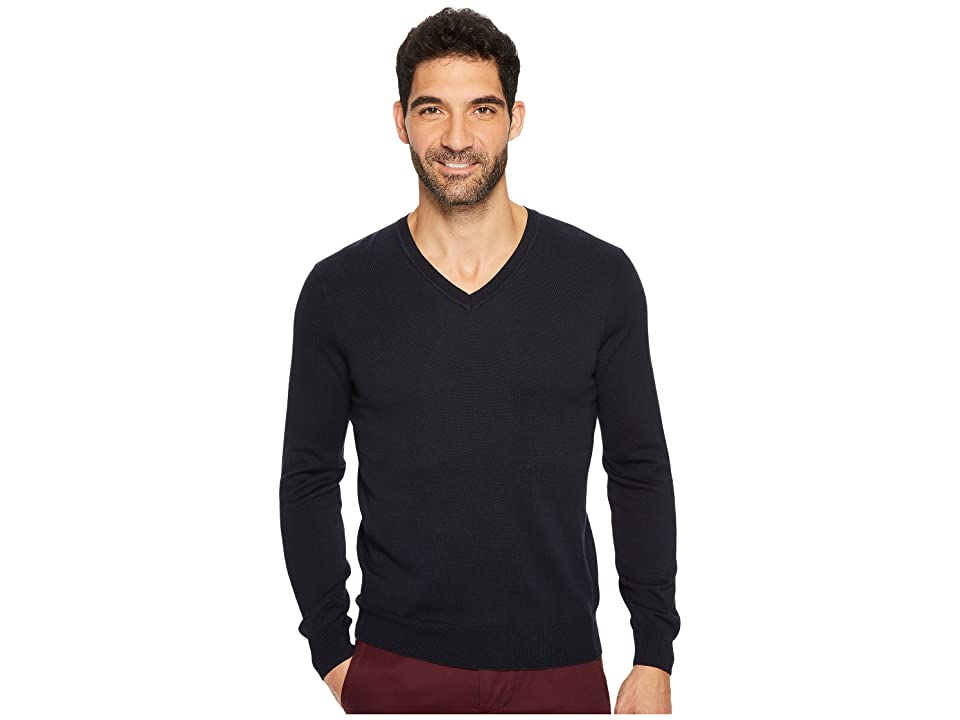 Perry Ellis Classic Solid V-Neck Sweater (Dark Sapphire) Men