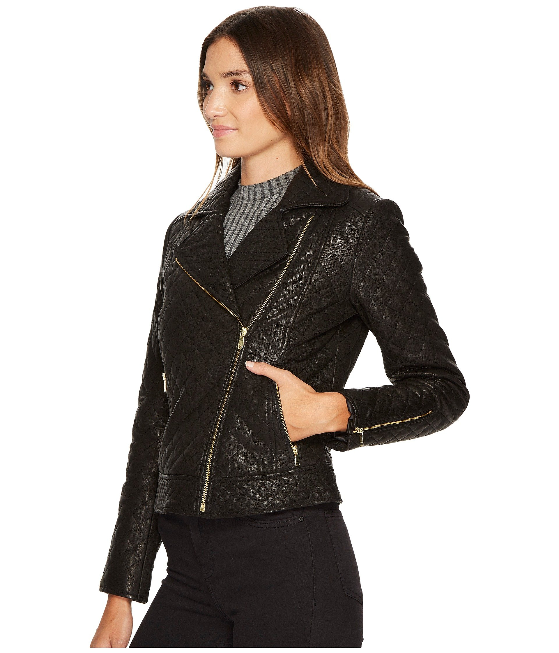 Cole Haan Diamond Quilted Moto w/ Exposed Zippers at Zappos.com : cole haan leather jacket diamond quilted - Adamdwight.com