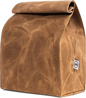 ASEBBO Waxed Canvas Lunch Bag, Lifetime Buy, Large Plastic-Free Lunch Box, Reusable and Washable Lunch Sack for Men, Women & Kids, Brown