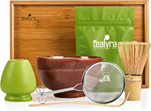Tealyra - Matcha Kit - Connoisseur Ceremony Start Up Set - Premium Matcha Tea Powder - Japanese Made Red Bowl - Bamboo Whisk Scoop and Tray - Holder - Sifter