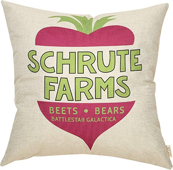 Fjfz The Office Funny D Cor TV Show Lover Schrute Farms Decoration Bears Beets Battlestar Galactica Sign Cotton Linen Home Decorative Throw Pillow Case Cushion Cover For Sofa Couch 18 X 18