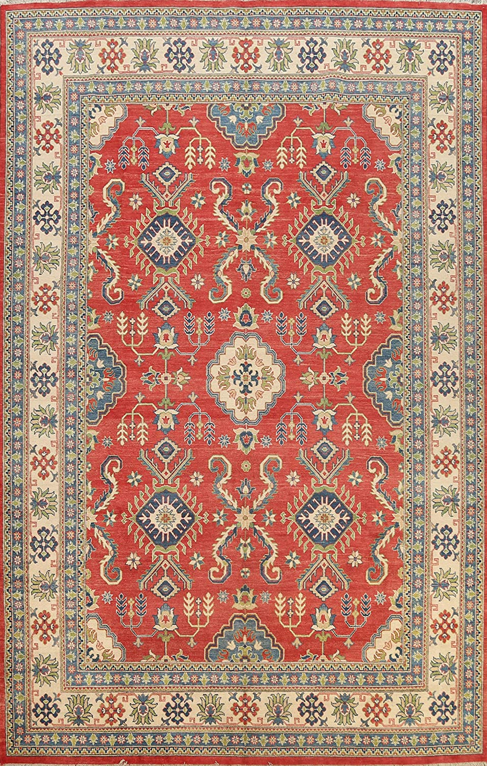 Red Geometric Selling rankings Vegetable Dye Kazak Oriental Hand-Knotted Area Rug Max 58% OFF