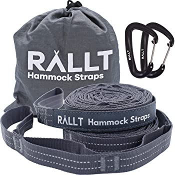 Rallt Hammock Tree Straps - 2000+ LB Breaking Strength, 20 Feet Long, 36 Loops, 100% No Stretch Polyester Adjustable Suspension Kit with 12 kN Carabiners
