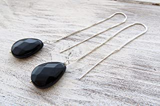 Orecchini lunghi a catenella in argento 925, pendenti in onice nero, gioielli minimalisti, bijoux pietre dure, bijoux cont...