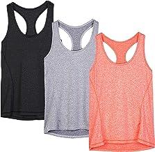 یوگا تمرین تانک بالا برای زنان - Racerback یوگا Athletic Tops، در حال اجرا ورزش تی شرت (بسته 3)