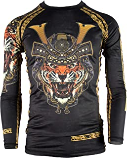 Primal Gear Samurai Tiger BJJ Compression Base Layer Rash Guard Shirt- BJJ, Jiu Jitsu