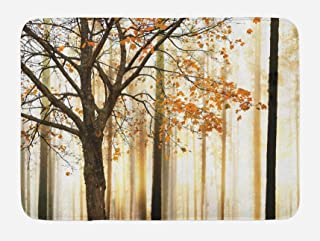 Ambesonne Autumn Bath Mat, Picture of a Lonely Tree with Orange Leaves on an Abstract Woodland Background, Plush Bathroom Decor Mat with Non Slip Backing, 29.5