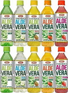 Farmer's Aloe Vera Variety Pack - Original, Mango, Coco, Fresa/Strawberry, Pina/Pineapple Drinks, 16.9 Fl Oz (Pack of 10, Total of 169 Oz)