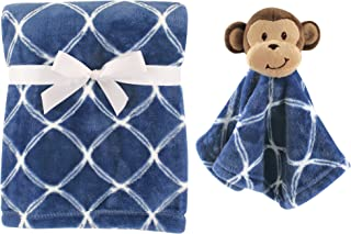 Hudson Baby Unisex Baby Plush Blanket with Security Blanket, Blue Monkey 2 Piece, One Size