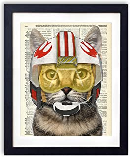 Star Pilot Cat, Kids Bedroom Wall Decor, Vintage Wall Art Upcycled Dictionary Art Print Poster For Kids Room Decor 8x10 inches, Unframed