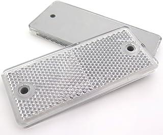 10 x Weiß / Klar Rechteck Rückstrahler für Anhänger Wohnwagen Torpfosten E geprüft