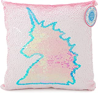 Tri-Coastal Design Pink Unicorn Magic Color-Change Square Throw Pillow with Glittery Sparkly Reversible Sequins and Blue and White Trim