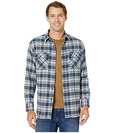 Pendleton Burnside Double-Brushed Flannel Shirt (Light Blue/Navy/Brown Plaid) Men