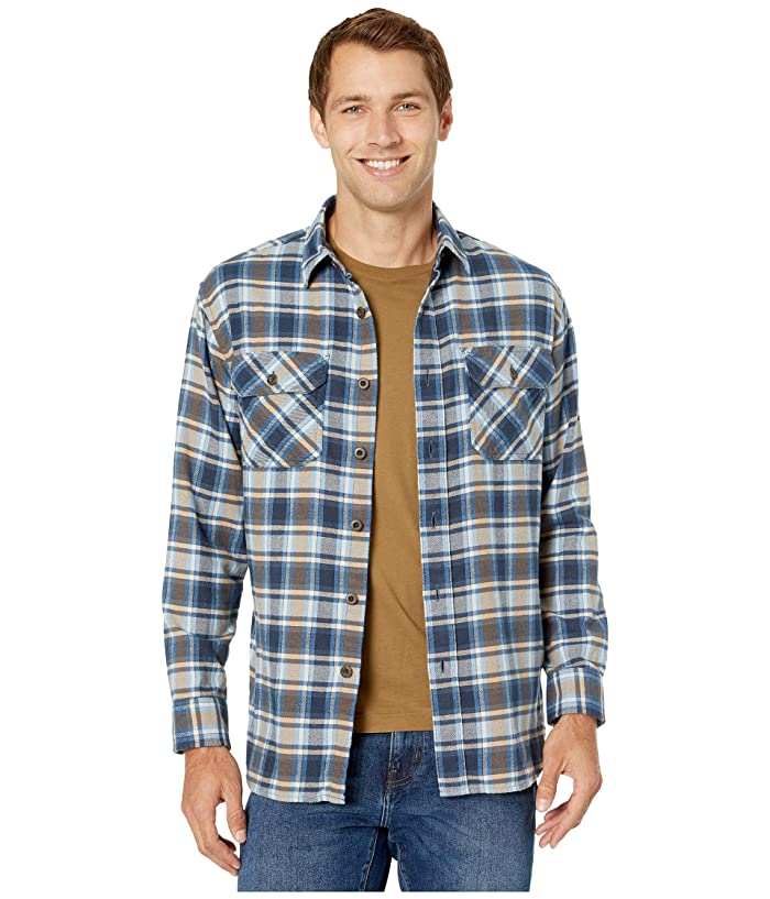 Brushed Flannel Shirt (Light Blue/Navy/Brown Plaid) Men's Clothing