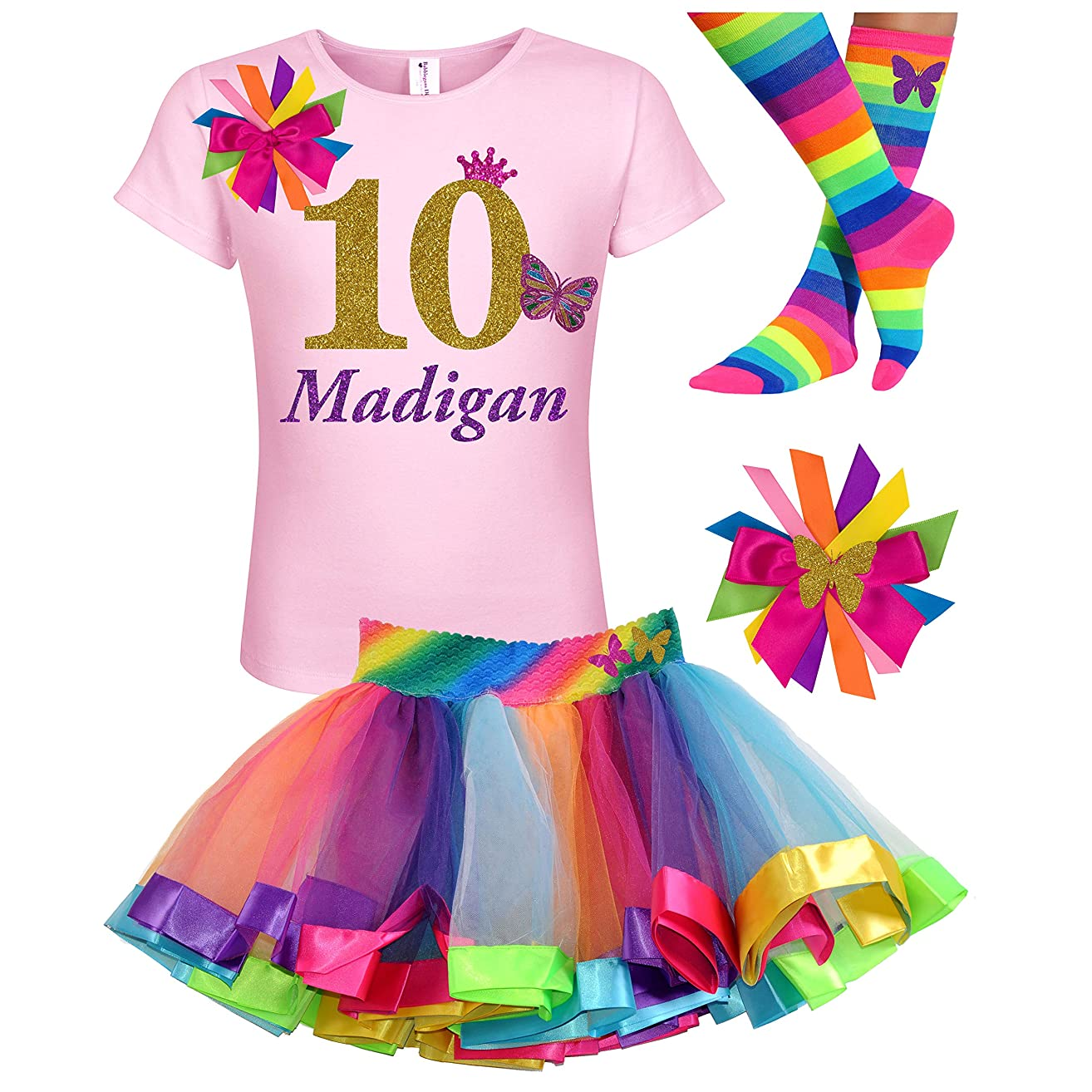 10th Birthday Girl Butterfly Outfit Gold 10 Pink Rainbow Party Gift Set Personalized Name