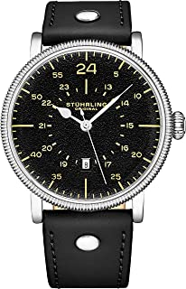STUHRLING Original Mens Watch. Analog Quartz Military Wrist Watch. Genuine Calfskin Leather Strap, Black Dial, 24-Hour Watch. Aviator Watches for Men. 22mm Watch Band. A Smart Watch to wear.