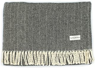 "SFERRA Celine Herringbone, 100% Cotton Throw Blanket Throw Blanket (51"" x 71"") Black 9701-BLK"