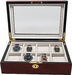 8 Piece (6 + 2) XL Oversized Large Cherry Wood Watch Display Case and Storage Organizer Box