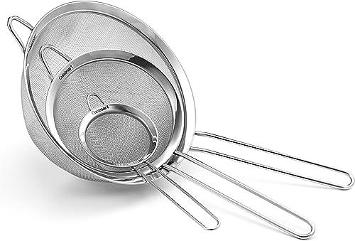 Cuisinart - Juego de 3 coladores de malla fina de acero inoxidable