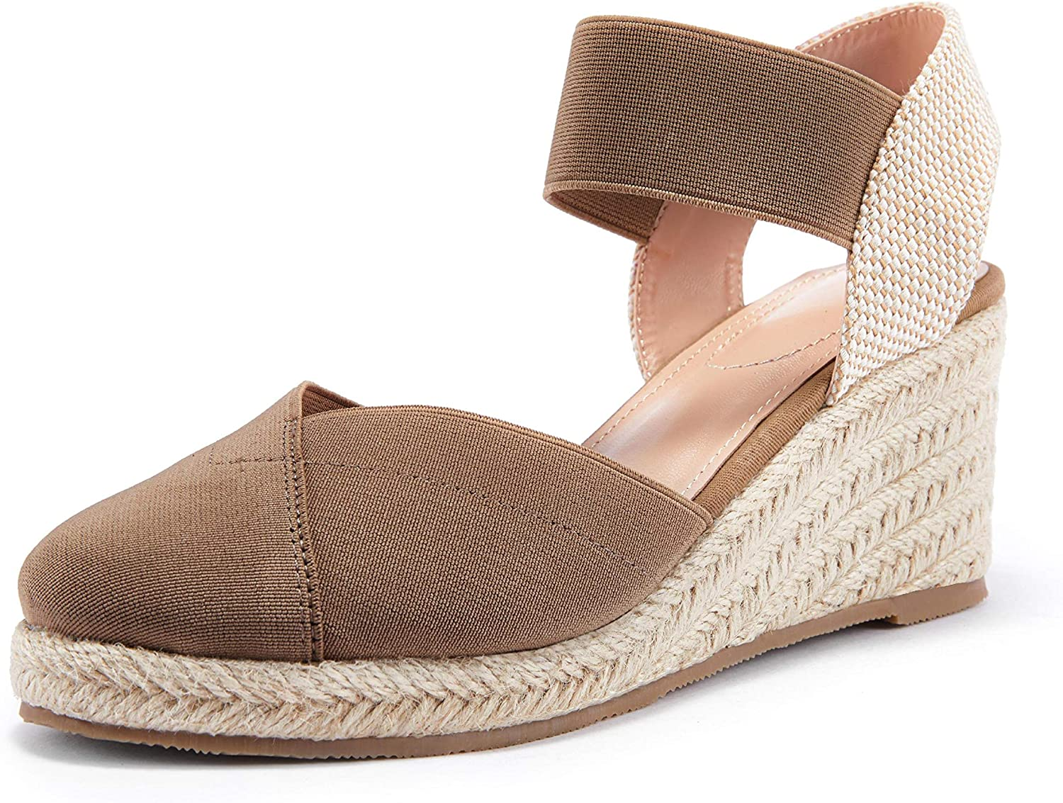 Coutgo Womens Wedge Sales for sale Espadrille New product! New type Sandals Toe Closed Platform Elast