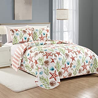 Great Bay Home Castaway Coastal Collection 3 Piece Quilt Set with Shams. Reversible Beach Theme Bedspread Coverlet. Machine Washable. (King, Multi)
