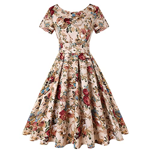7075e921f1f3 ROOSEY Women's 1950s Retro Vintage Cocktail Party Swing Dress with Short  Sleeve