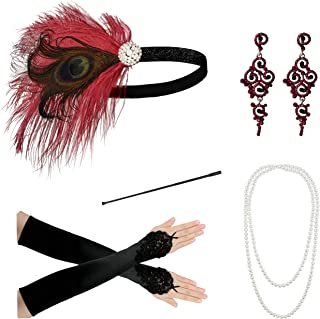 Zivyes 1920s Accessories Headband Necklace Gloves Cigarette Holder Flapper Costume Accessories for Women