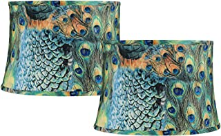 Set of 2 Peacock Print Drum Lamp Shades 14x16x11 (Spider) - Springcrest