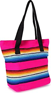 Handwoven Serape Tote Bag Sturdy woven cotton straps. Large Eco Friendly Tote Bag,Vibrant Colors, zipper closure and interior pickets (Pink)