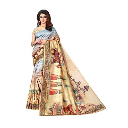 61342e4ed Silk Zone Women s Kalamkari Digital Print Silk Saree With Blouse  (KLD0005 Multi-Coloured Free Size)
