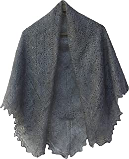 Fedelkea Orenburg Shawl Grey Wrap Lace Knitted Wool Goat Down Russian Handmade