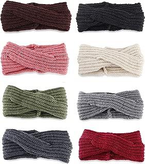 8 Pcs Crochet Turban Knit Headband for Women Winter Warm Bulky Crocheted Headwrap Elastic