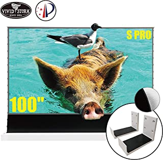 VIVIDSTORM S PRO Ultra Short Throw Laser Projector Screen,White Housing Motorized Floor Rising Screen 100 inch Ambient Lig...