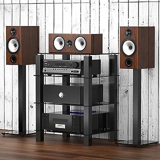 FITUEYES Mueble HiFi para Equipo de Música Mueble Auxiliar TV con 4 Estante de Vidrio Templado 60 x 455 x 77 cm