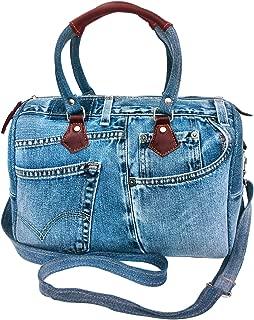Unique Large Blue Denim Doctor Style Top Handle Shoulder Handbag BL070