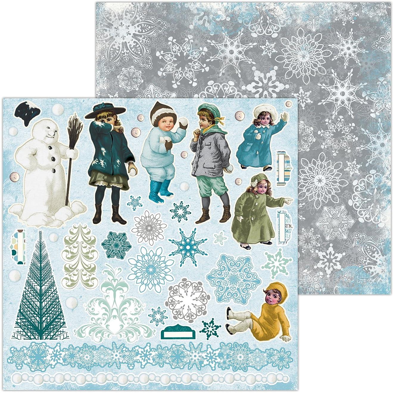 満足させる感嘆符藤色BoBunny (ボバニー) パターンペーパー Winter Playground - 12 x 12 - Noteworthy 7310008