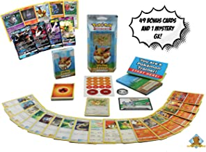 Let's Play Eeevee Theme Lot Bundle - Featuring 1 Sealed Lets Play Eevee Theme Deck with a Bonus 50 Pokemon Including 1 GX! Includes Golden Groundhog Treasure Chest Storage Box!