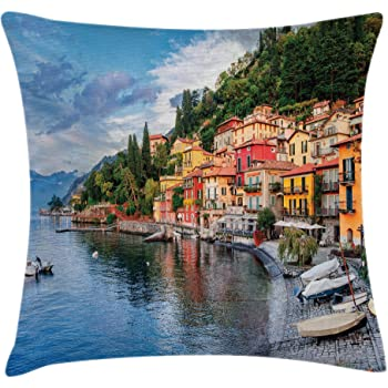 Amazon Com Ambesonne Scenery Throw Pillow Cushion Cover Landscape From Another Door Antique Style Stone Village Tuscany Italian Valley Decorative Square Accent Pillow Case 16 X 16 Pale Brown Home Kitchen