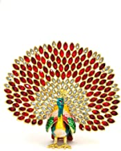 VI N VI Red Jeweled Rhinestone Multi Colored Peacock Jewelry Box, Trinket Box | Collectible Figurine and Decorative Jewelry Holder for Small Jewelry