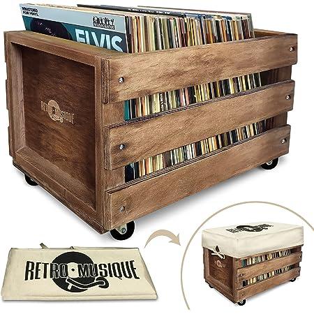 La Caisse d'Entreposage de Record de MICROSILLON de bois sur les Roues pour jusqu'à 100 albums, par Retro Musique