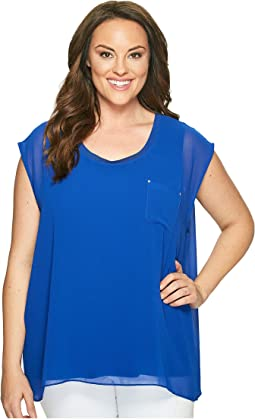 Plus Size Short Sleeve Top with Chiffon Overlay
